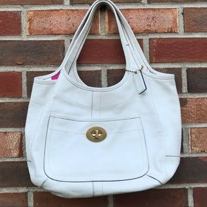 Coach Ergo XL white Legacy leather tote